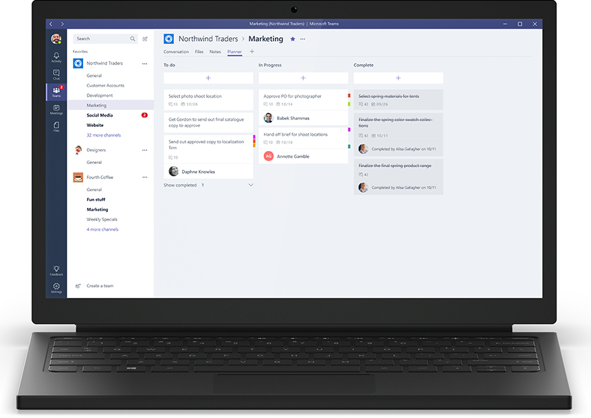 Messaging and collaboration within Microsoft Teams.