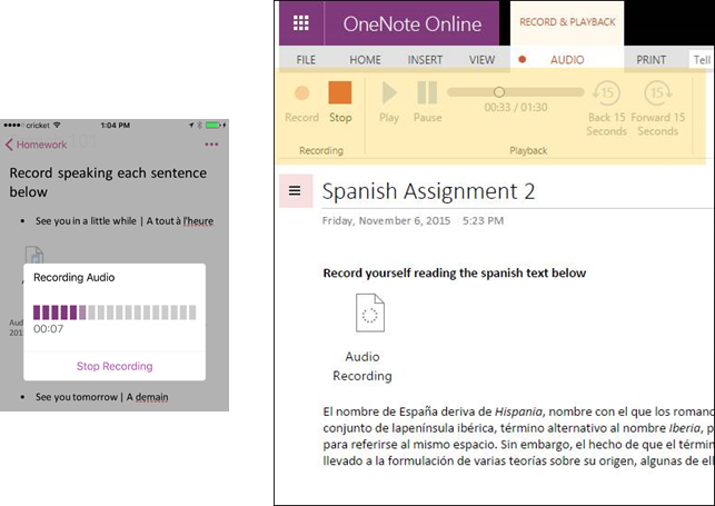 OneNote in November 1