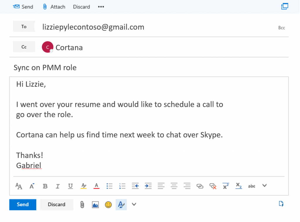 email template to schedule a meeting enroll in the preview and let cortana