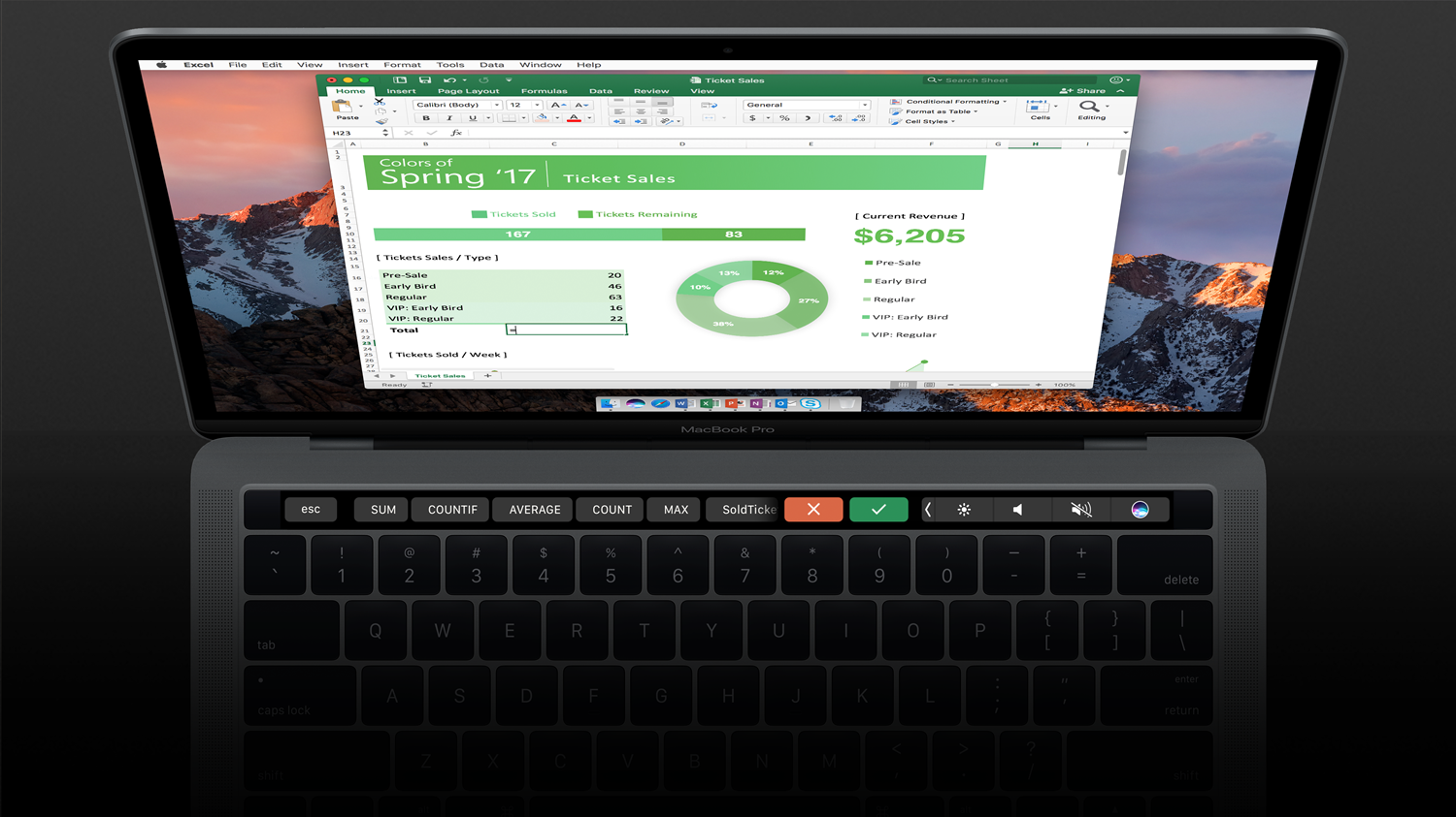 "The image shows a Mac with touch bar enabled in Excel. The touch bar shows commonly used functions such as ""SUM"" that are related to the cell that is being selected within the spreadsheet."
