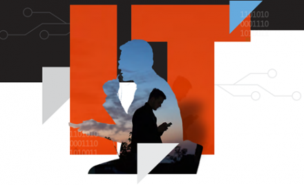 "Image shows a collage featuring a man checking his email from a mobile device, another contemplating an email and the letters ""IT."""