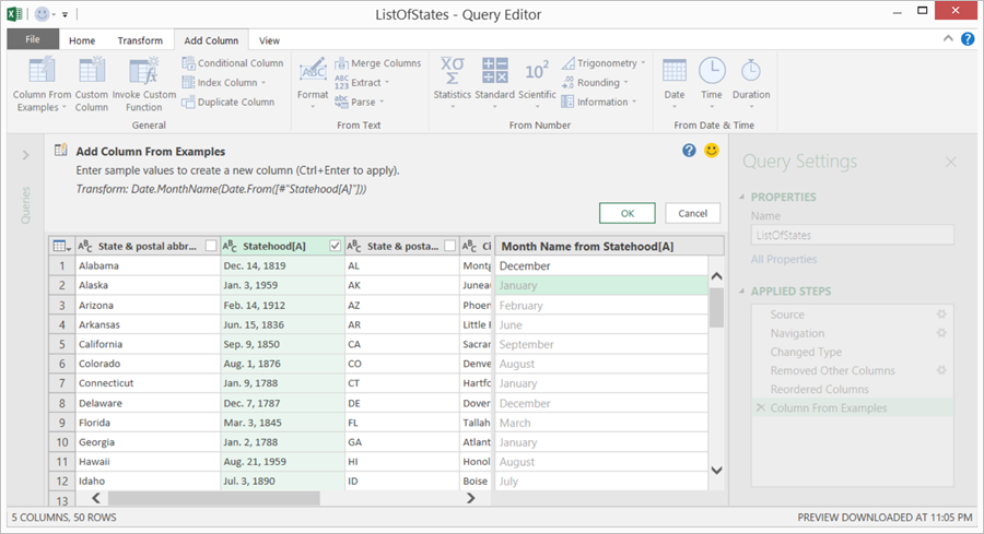 Query Editor dialog is displayed with Add Column selected so user can add a column from an example.