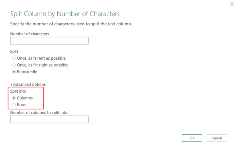 The Split Column by Number of Characters dialog is displayed with Advanced options highlighted.