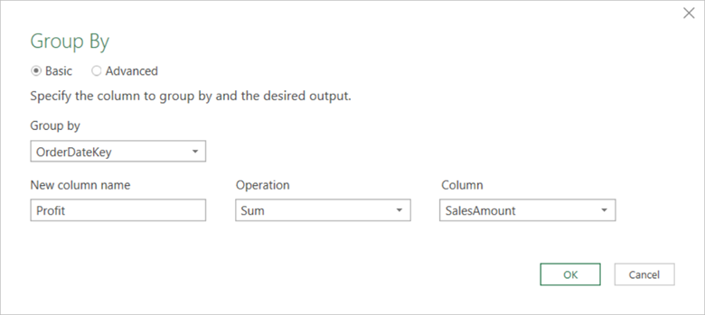 The Group By transform dialog is displayed with the Basic option selected. User can click the Advanced radio button to display the advanced options.