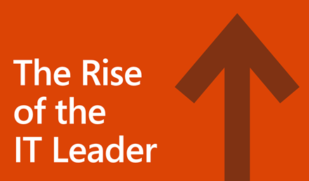 "Logo for the ""Rise of the IT leader"" infographic, with an arrow pointing upward."