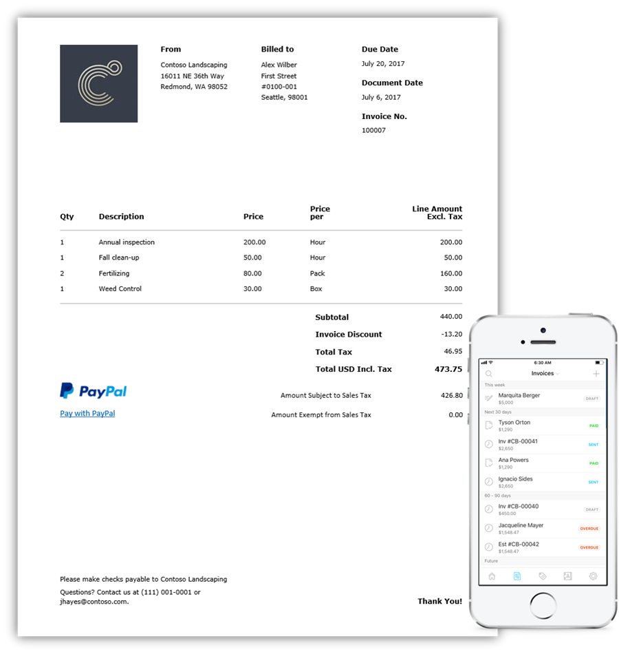 Images showing the Invoicing app opened and displaying an invoice. A mobile device, showing the list of invoices and the status is also displayed.