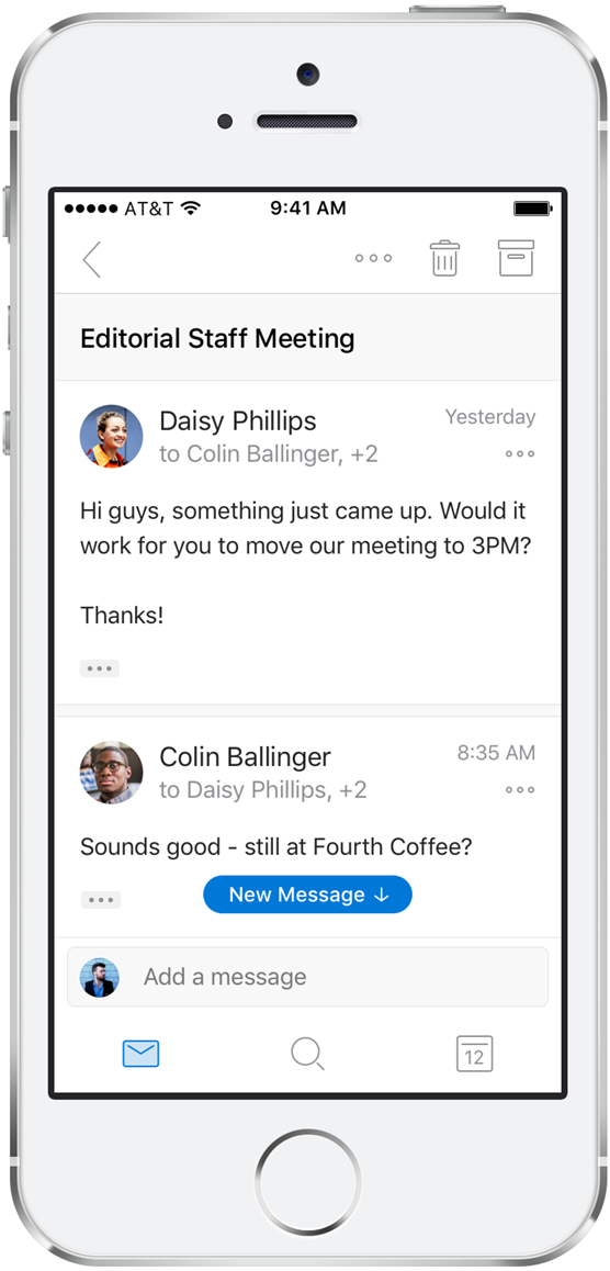 The new conversation view with increased message spacing shown on an iPhone.