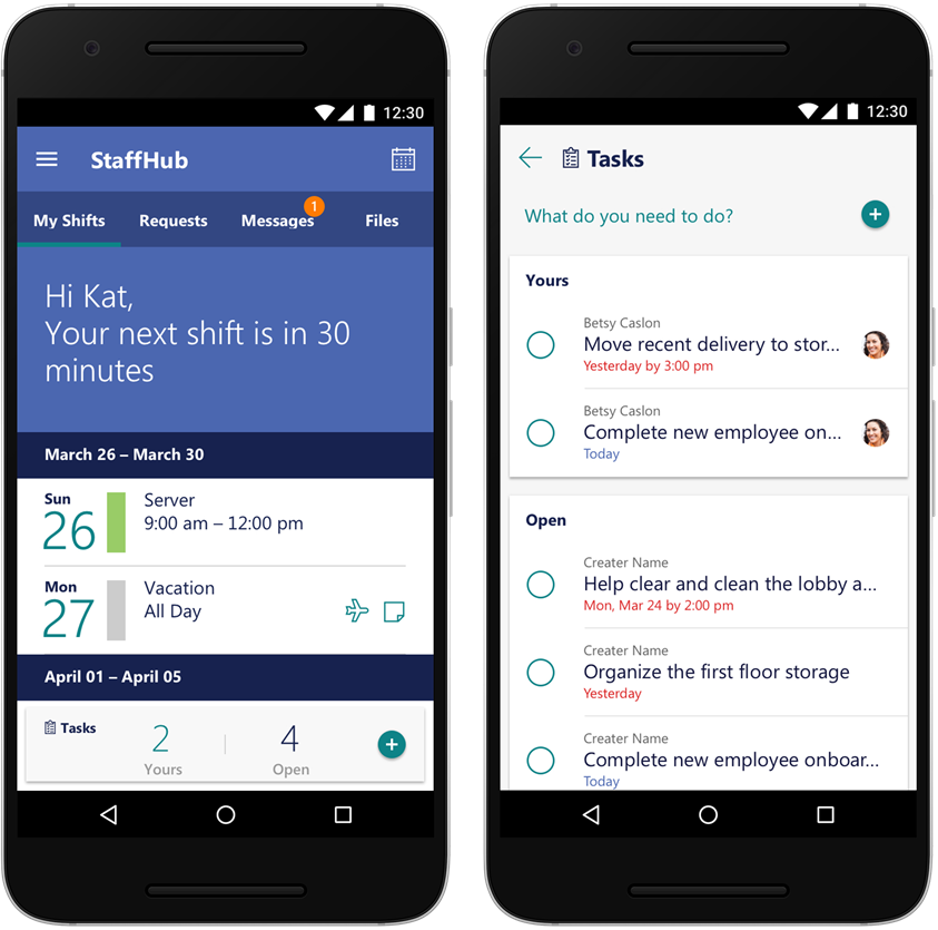 The new task view in StaffHub on an Android phone. The image shows the simple creation and completion of tasks.