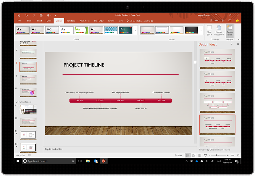 A timeline created with PowerPoint designer and a number of alternate design options.