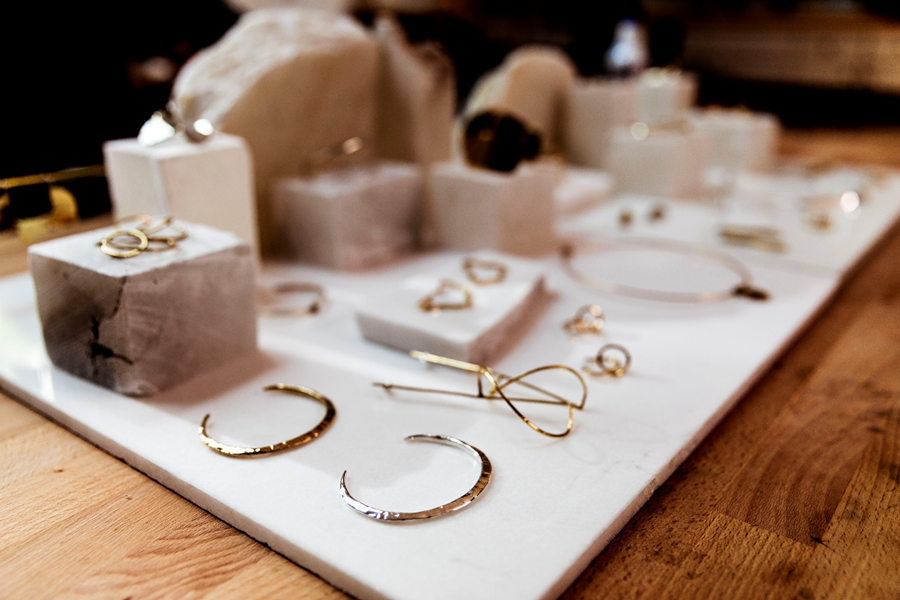 Image shows a display of Jennifer Sarkilahti's finished products.