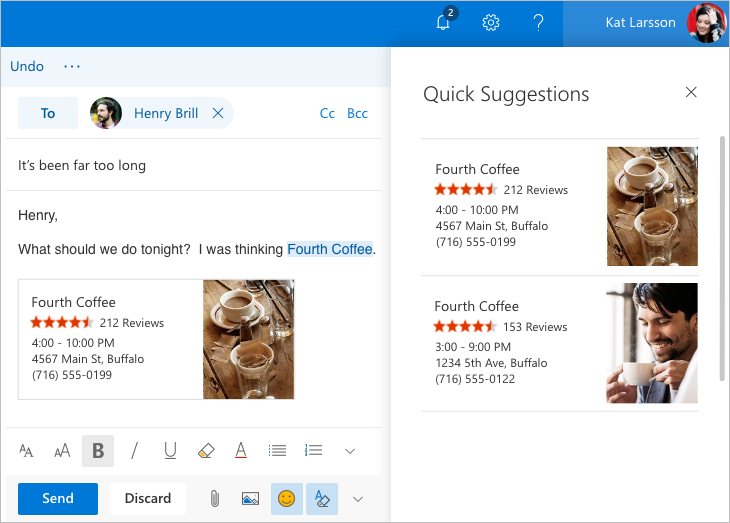 Image showing an email, with the Quick Suggestions feature adding the details of a place to meet for coffee to the email.