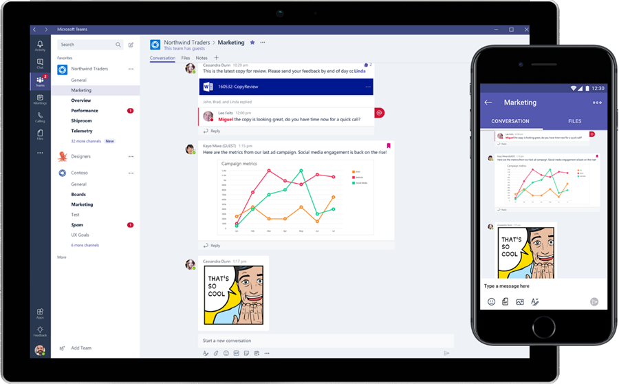 Two smart devices display Microsoft Teams.