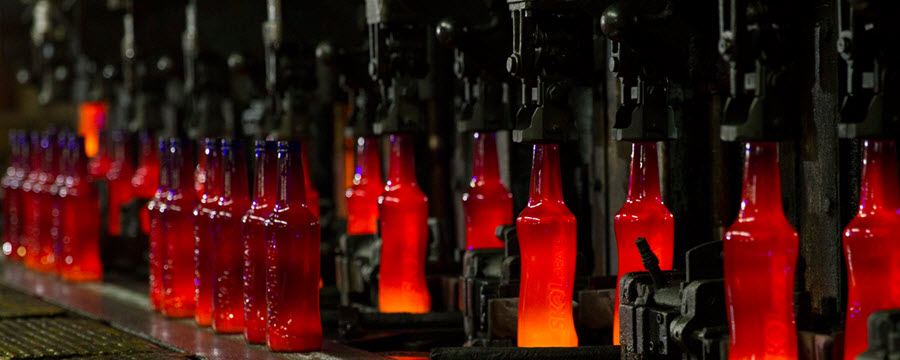 I row of bottles manufactured at Owens-Illinois.