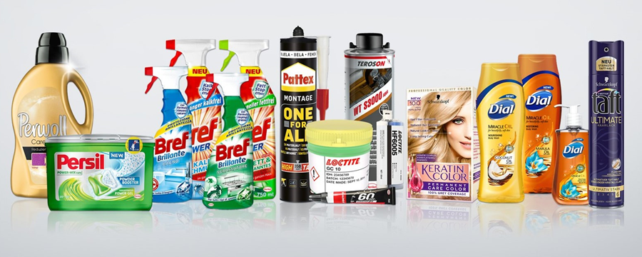 Banner image displays a row of Henkel products.