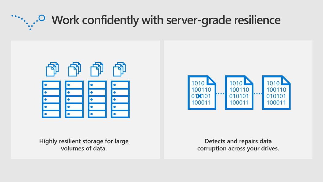 Slide showing work confidently with server-grade data protection on your workstation