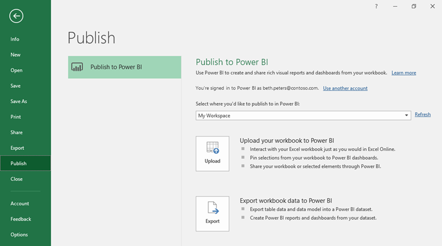 Image showing how easily you can publish Excel data to Power BI. The Publish screen is displayed.