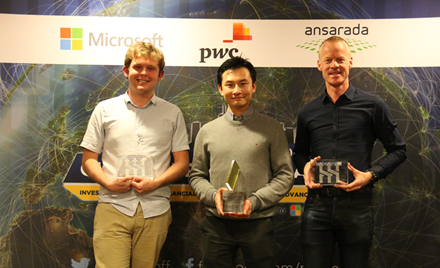 Image of the winners of ModelOff 2017: Michael Jarman, Alvin Woon, and Willem Gerritsen.