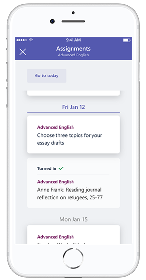 iPhone displays Assignments accessed in Microsoft Teams.