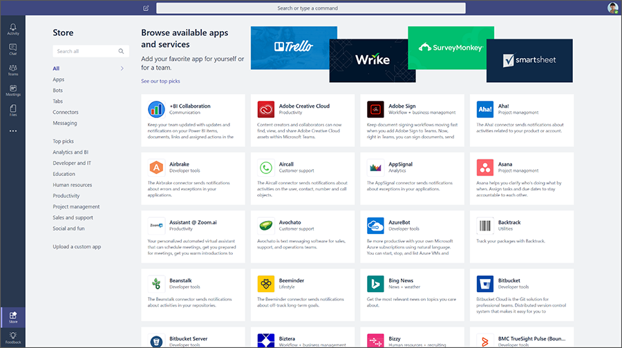 A view of the apps available for Microsoft Teams from the Store dash.
