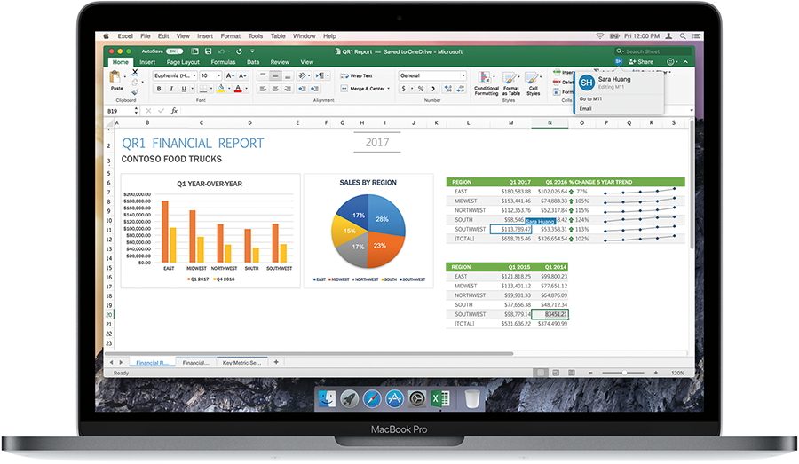 Image of a laptop open, displaying a financial report in Excel.