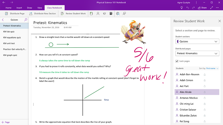 "Screenshot displays a graded assignment in OneNote, upon which a sticker and the teacher's praise ""great work!"" appear."