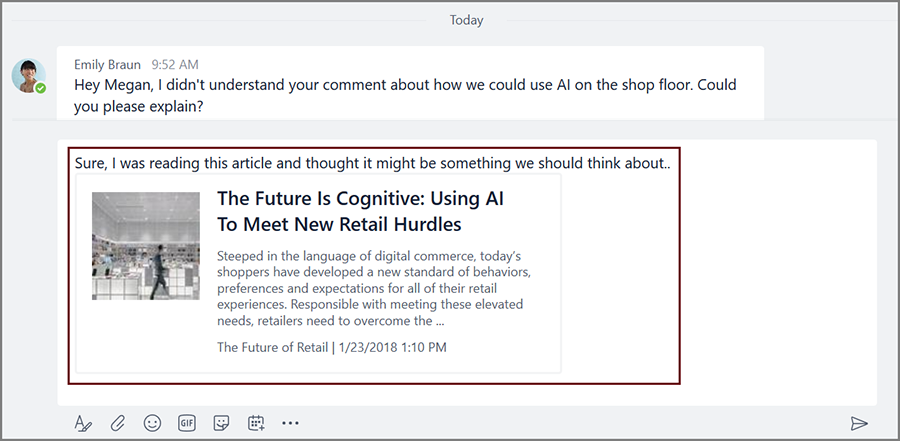 Screenshot displays how you can now include content from apps—like a news article—directly in a conversation in Microsoft Teams.