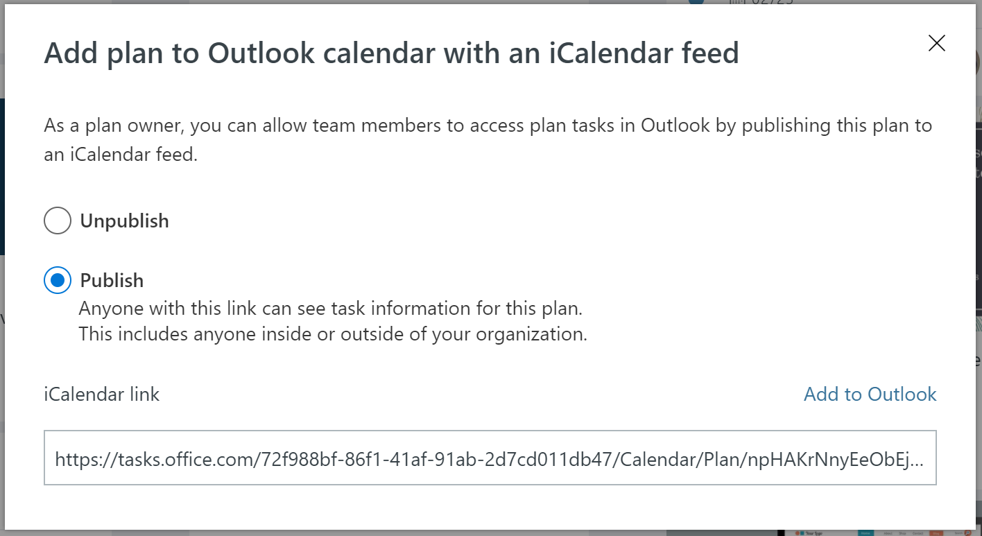 Screenshot displays the iCalendar format feed Publish prompt in Microsoft Planner.