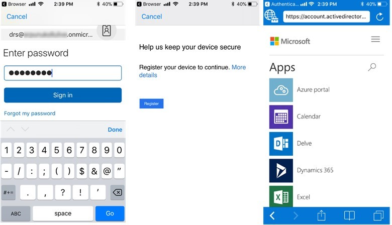 The Intune Managed Browser now supports Azure AD SSO and Conditional
