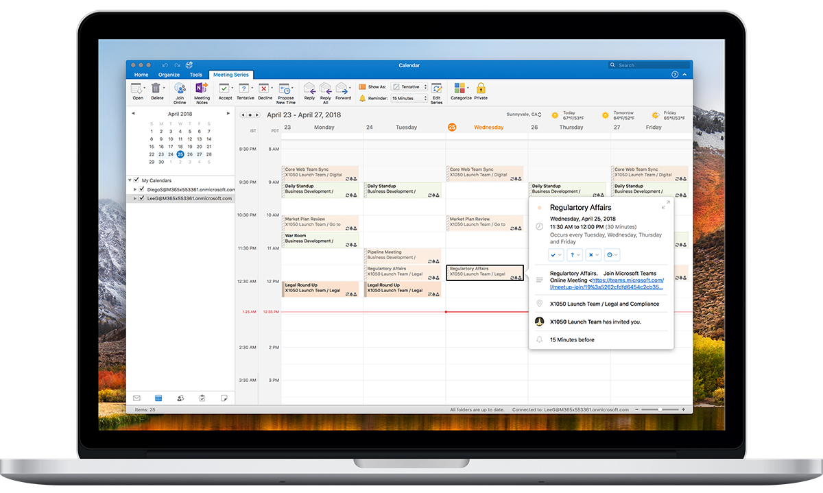 An open laptop showcases Time Zone Options in the Outlook Calendar.