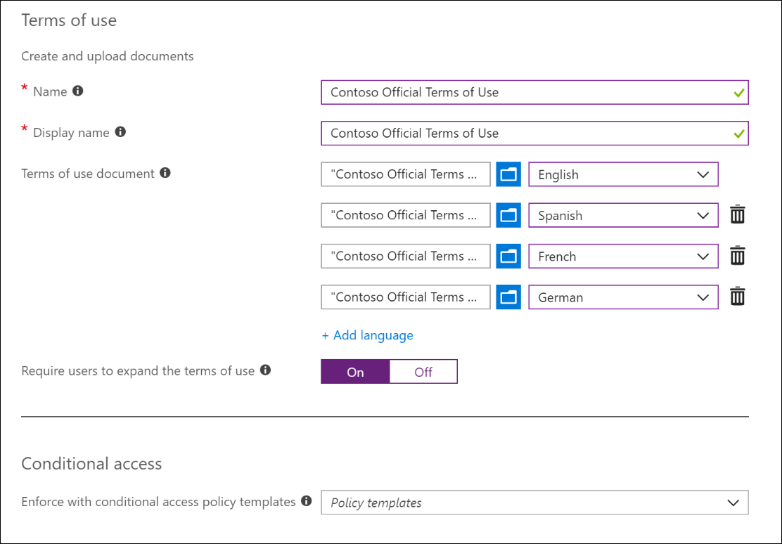 """Screenshot displaying the """"Terms of use"""" prompt in Azure Active Directory."""