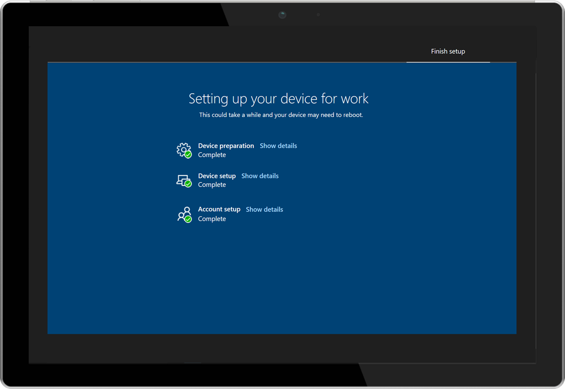 Image of a tablet showing the Windows AutoPilot enrollment status page
