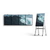 Image of five Surface Hub 2 screens displaying an ocean wave. One Surface Hub 2 sits on an easel.