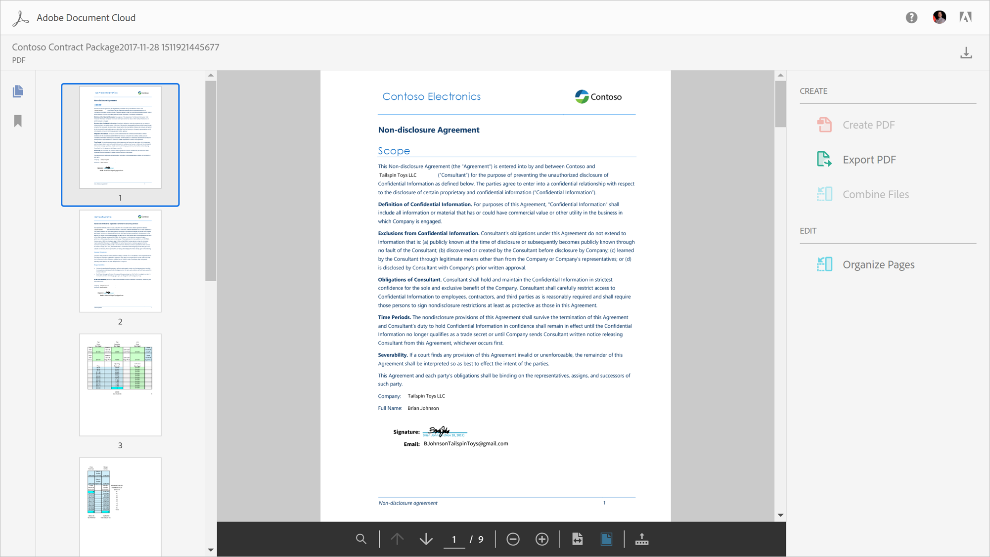 A screenshot displays a non-disclosure agreement in the Adobe Document Cloud.