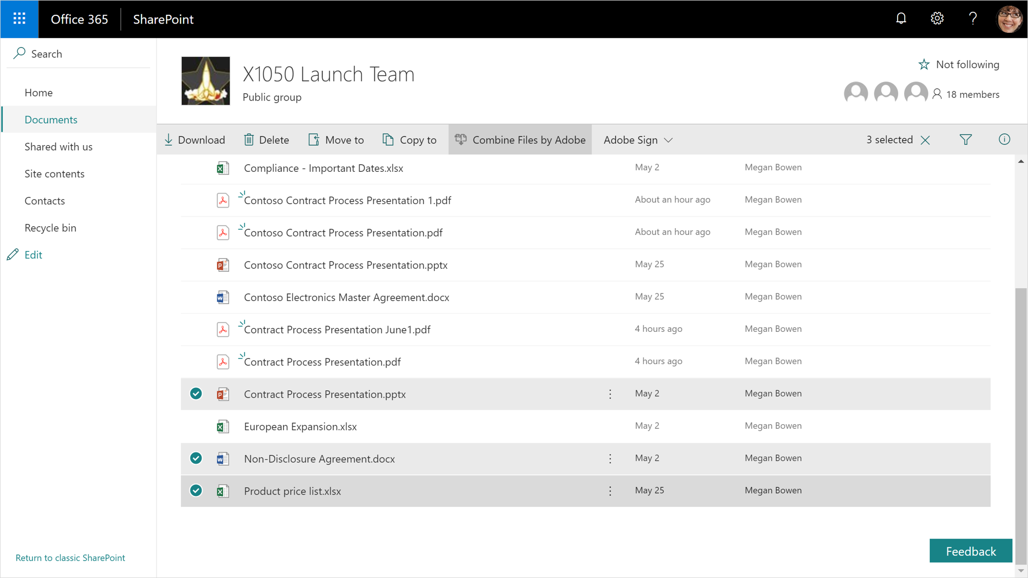 A screenshot displays a launch team group in SharePoint.