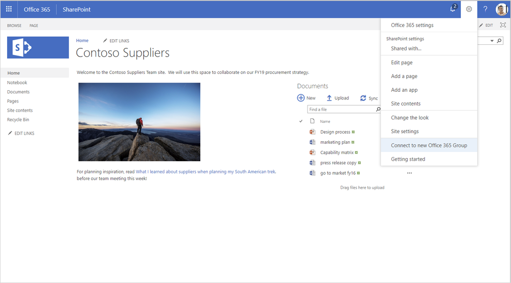 A screenshot displays a SharePoint page. A dropdown from Settings in the upper right shows the user is about to connect a new Office 365 group.