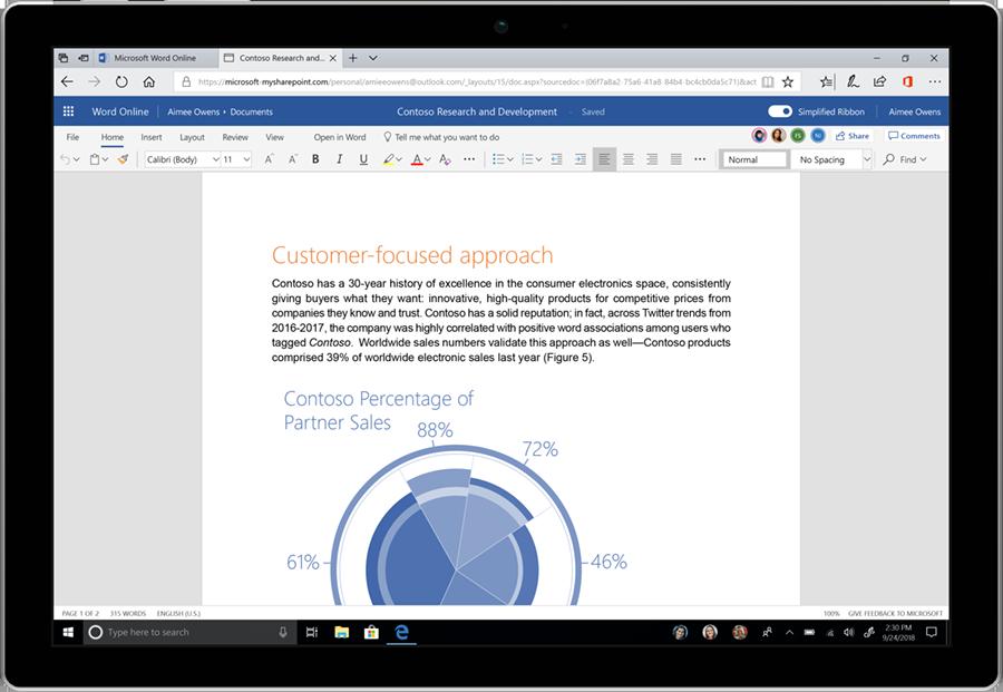 Imagem da faixa de opções simplificada no Office 365.