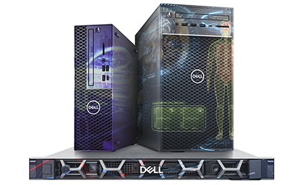Image of three new Dell computers.