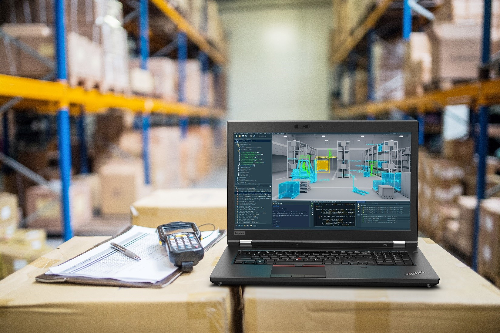 Image of a Lenovo ThinkPad sitting open in a warehouse.