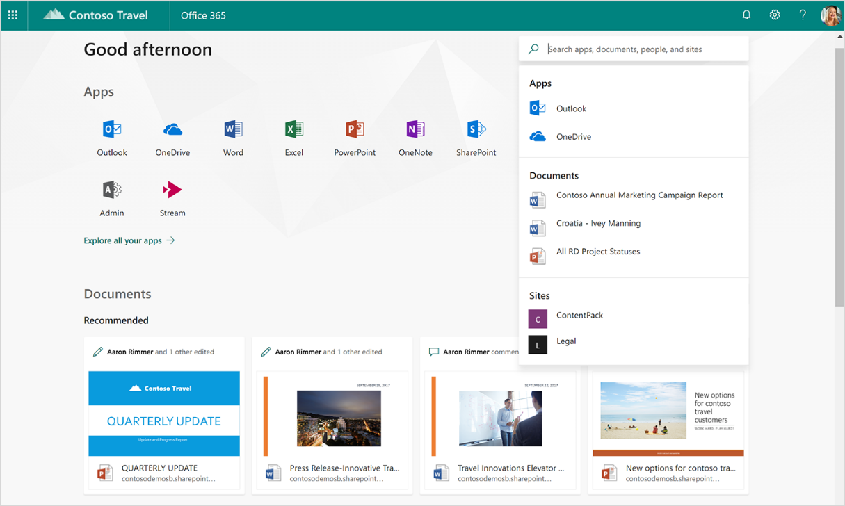 A screenshot displays intelligent recommendations in search in Office 365.