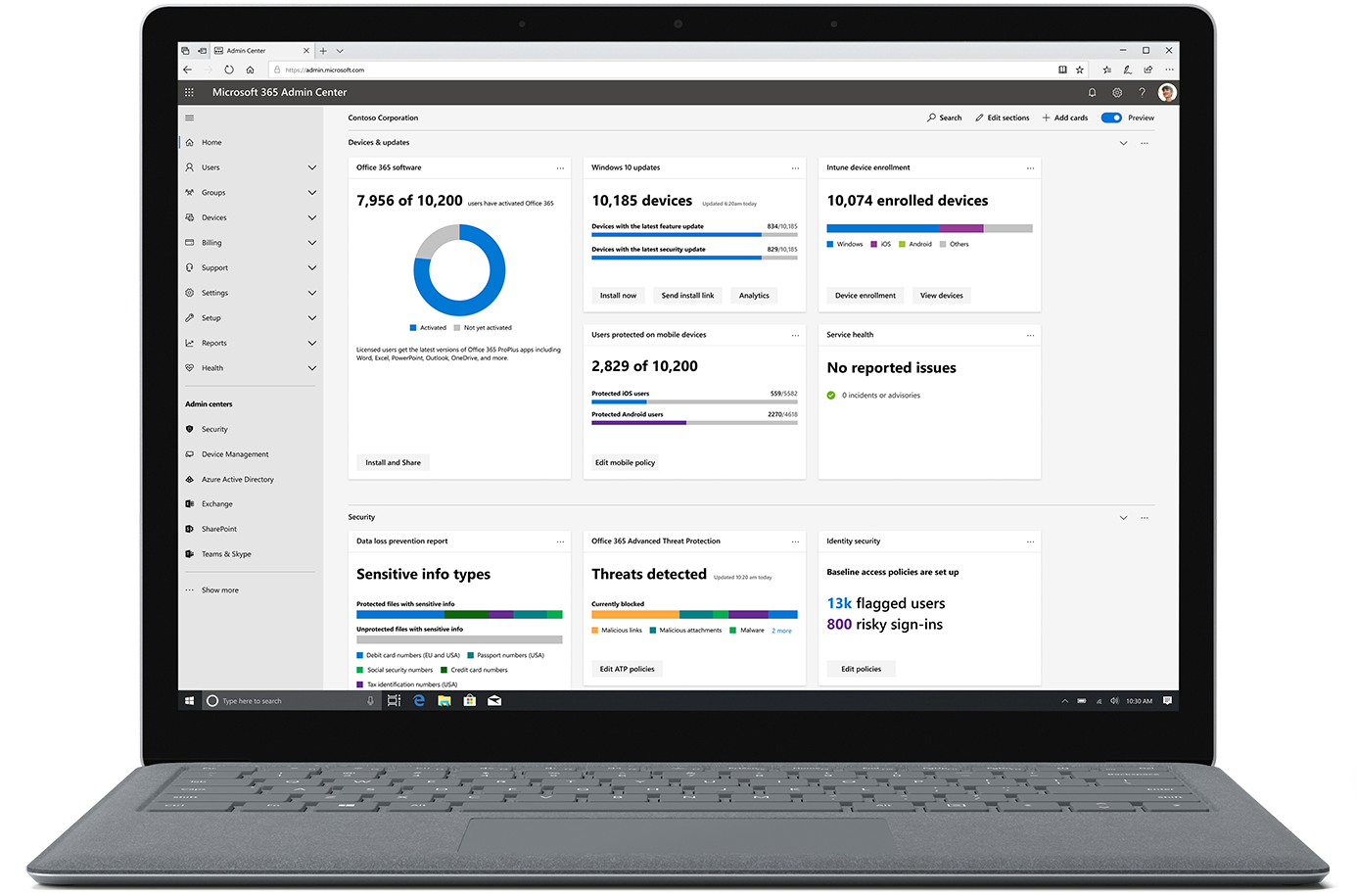 Image shows the Microsoft 365 admin center on an open laptop.