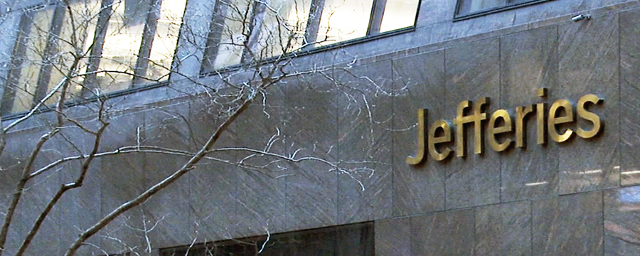Image of the Jefferies sign on a building.