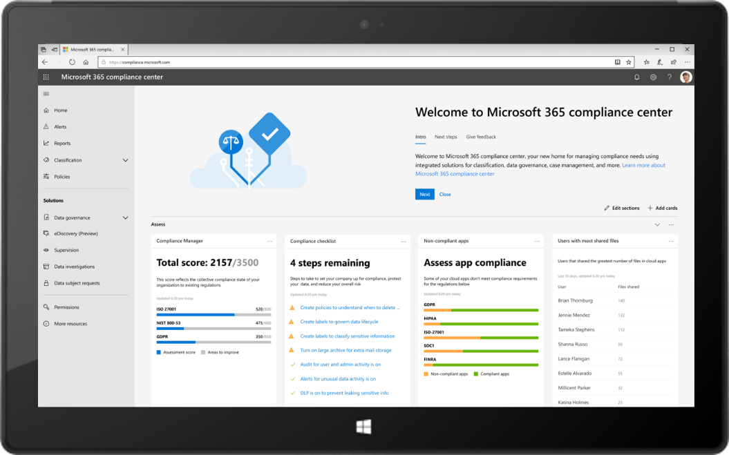 Image of a tablet displaying the new Microsoft 365 compliance center.
