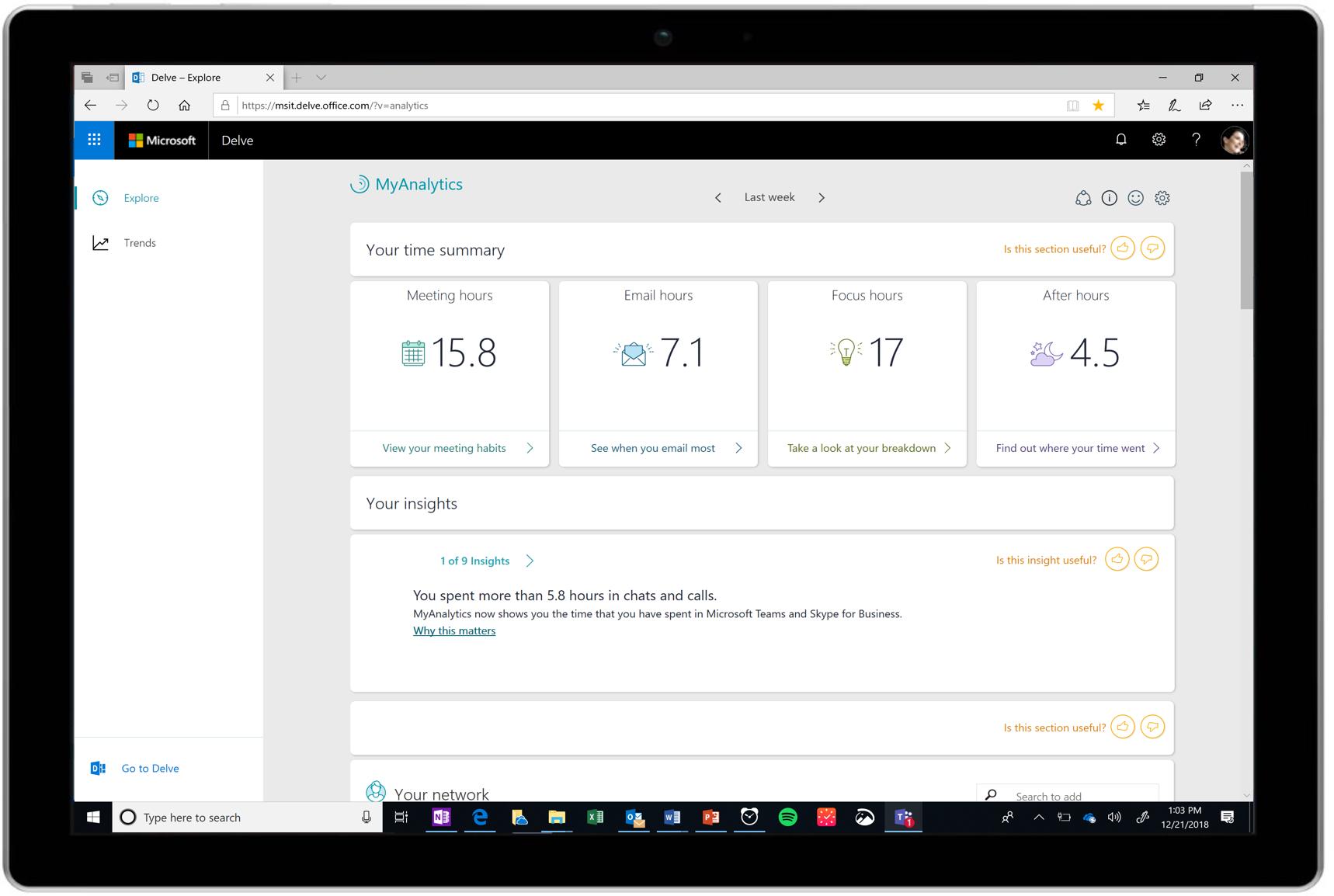 Office 365 MyAnalytics Dashboard
