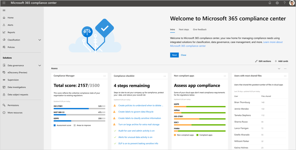 Screenshot of the Microsoft 365 compliance center dashboard.