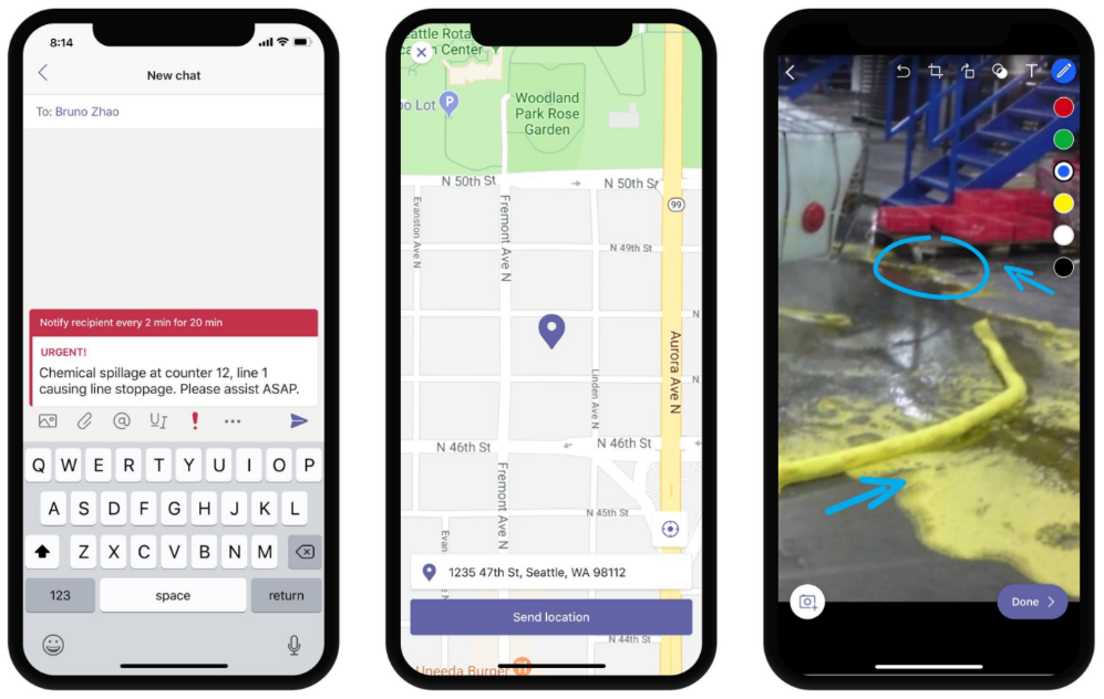 Image of three phones displaying urgent messaging, location sharing, and image annotations in Teams.