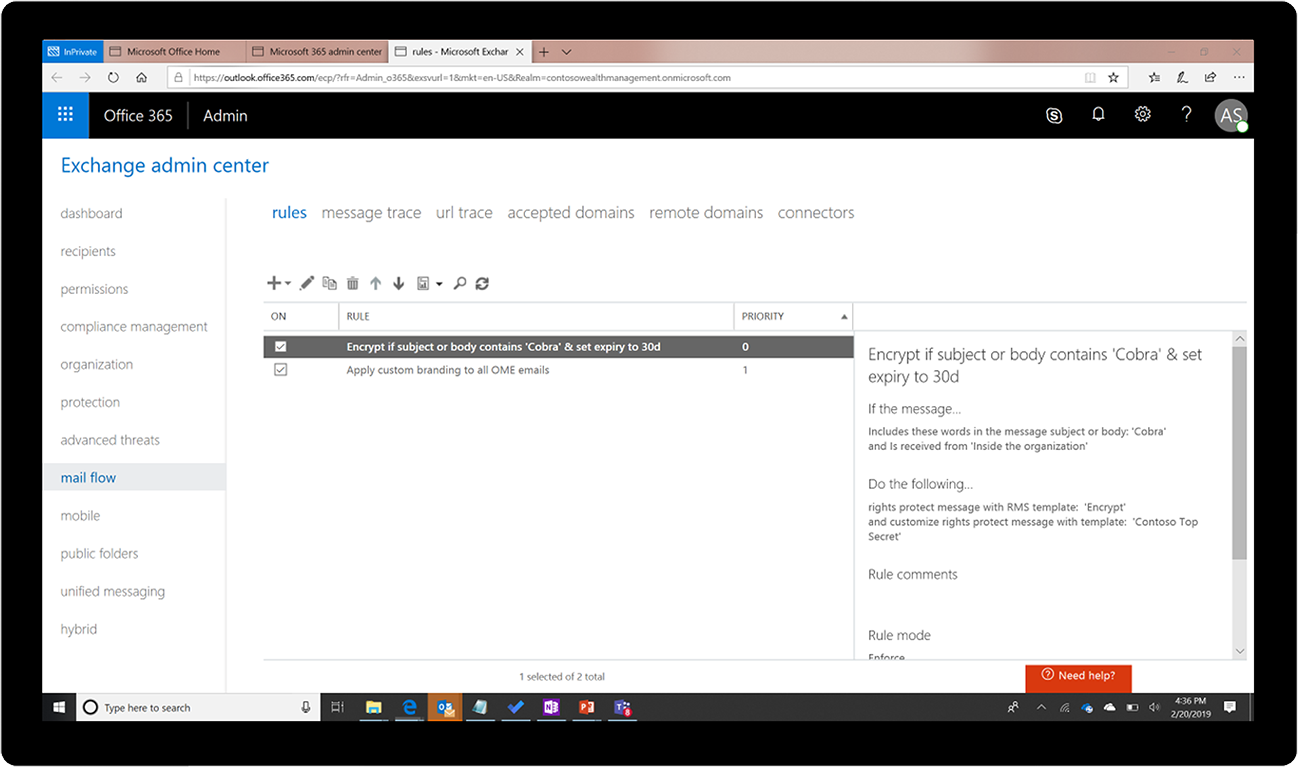 Screenshot of the Exchange admin center.