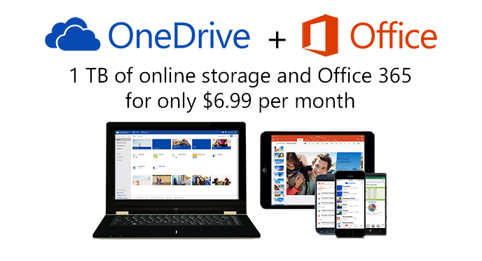 1 TB of online storage and Office 365 for only $6.99 per month