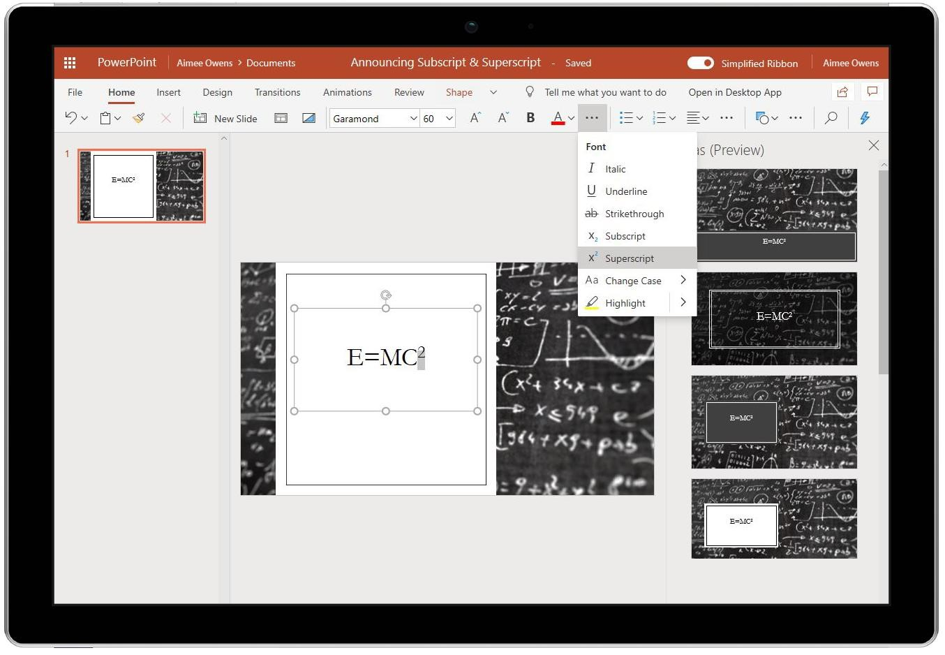 "Image of Superscript (under Font) in PowerPoint being used to superscript the ""2"" in the formula E=MC squared."