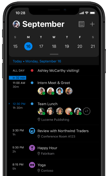 Image of Dark Mode in Outlook being used on a mobile device. The calendar shows September 16 meetings.