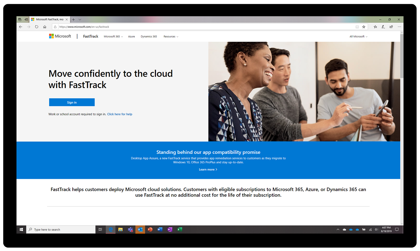 Image of the FastTrack homepage.